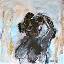 Model 2. Size : 70-70 cm. Mixed media on canvas